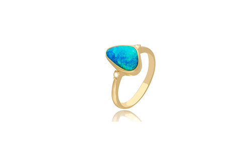 14K Gold Australian Solid Opal Diamond Ring