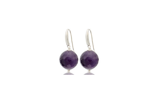Sterling Silver Amethyst Ball Faceted Earrings