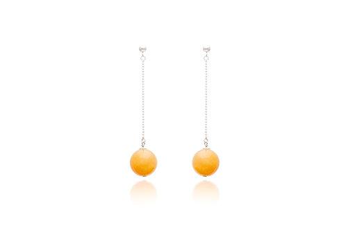 Sterling Silver Yellow Jade Ball Drop Earrings