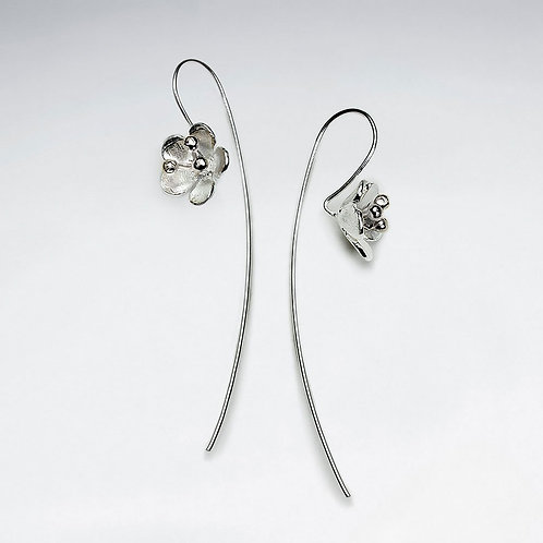 Brushed Silver Flowers Threader Hook Earrings