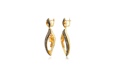 Sterling Silver Gold Plated Citrine Diamond Tourmaline Post Earrings
