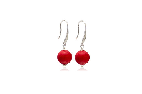 Sterling silver Red Coral ball Earrings