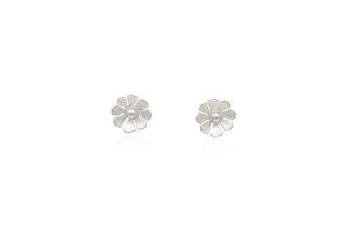 Matte Sterling Silver Flower Stud Earrings
