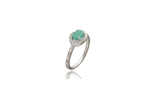 Sterling Silver Oval Emerald Cubic Zirconia Ring
