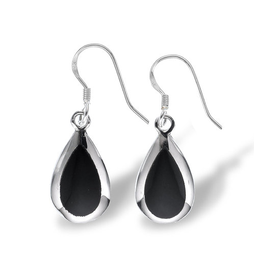 Onyx Inlay Silver Earrings