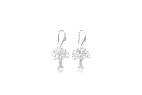 Sterling Silver Tree Matte Earrings