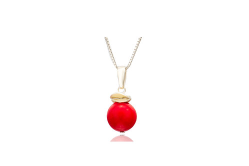 Sterling Silver Coral Ball Pendant with Chain