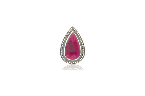 Sterling Silver Gold Plated Ruby Black Diamond Teardrop Pendant