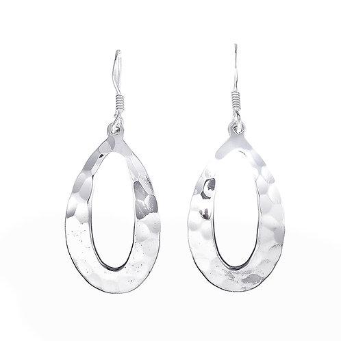 Hammered Open Oval Earrings
