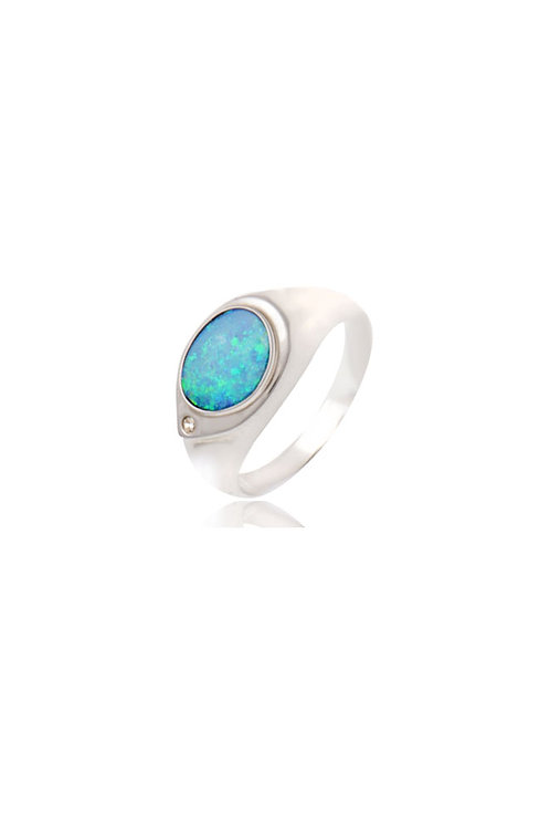 Sterling Silver Cubic Zirconia Opal Ring