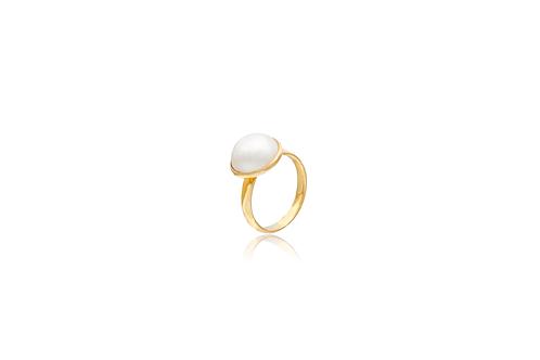 18K Gold White Mabe Pearl Ring