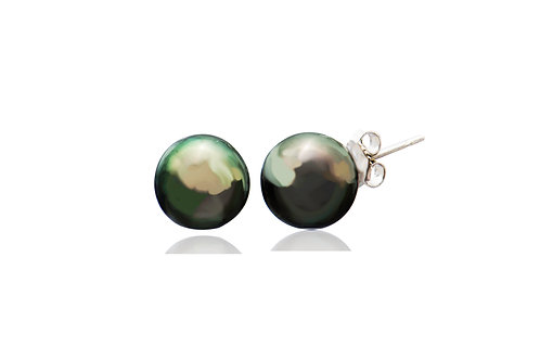 9K Gold Black South Sea Pearl Round Stud Earrings