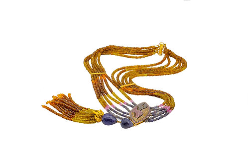 Sterling Silver Gold Plated Sapphire Mix colour Iolite String Necklace