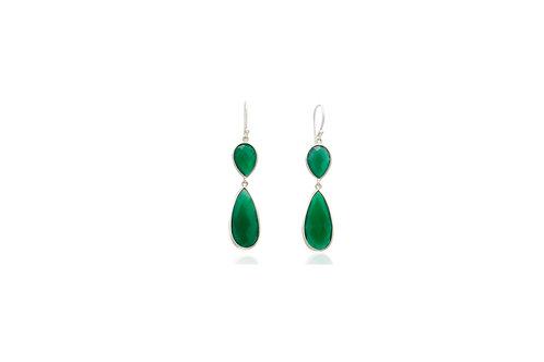 Sterling Silver Green Onyx Teardrop Earrings