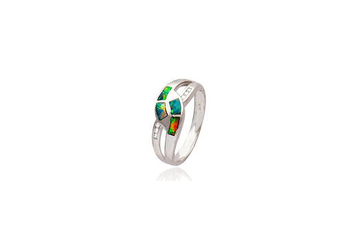 Sterling Silver Opal Inlay Cubic Zirconia Ring