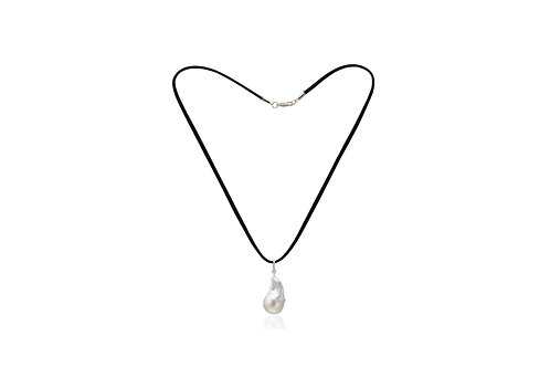 Sterling Silver White Baroque Pearl Charm Suede Necklace