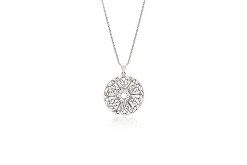 Flower Filigree Circle Necklace