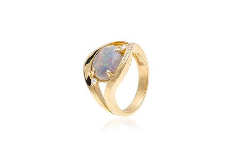 18K Yellow Gold Diamond Black Opal Oval Ring