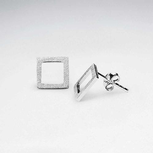 Sterling Silver Matte Square Earrings