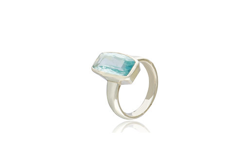 Sterling Silver Aquamarine Oblong Ring