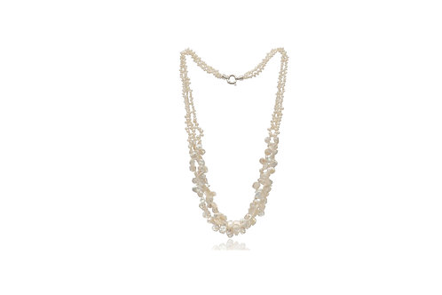 Sterling Silver Keshi Pearl 3 String Necklace