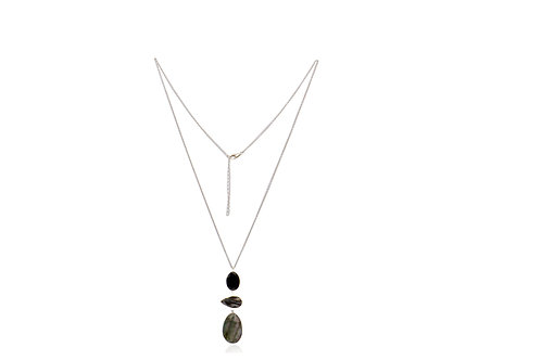 Sterling Silver Labradorite Onyx Druze Agate Pendat With Chain