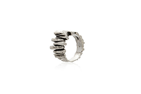 Tree Bark Mexican Silver Ring