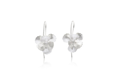 Sterling Silver Overlapping Petals Flower Earrings