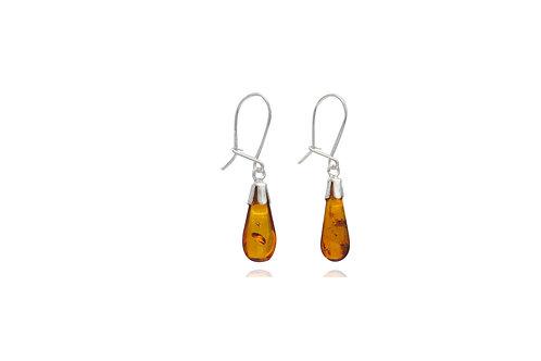 Sterling Silver Amber Teardrop Safe Hook Earring
