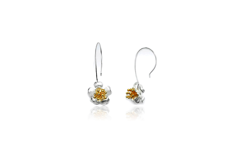 Hanging Blossom Two Tone Earrings