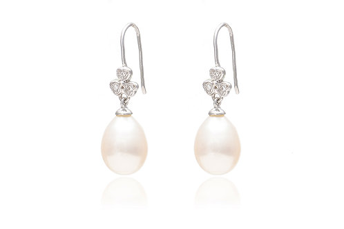 Cubic Zirconia Clover Earrings with Pearl
