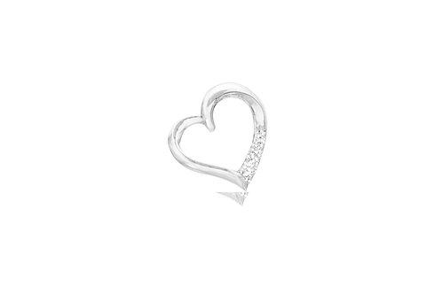 10K White Gold 3 Diamond Heart Pendant