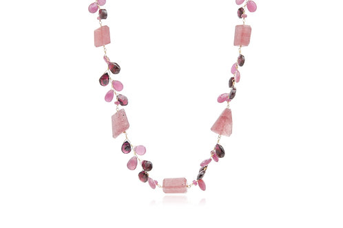 Gold Plated Tourmaline Ruby Garnet Necklace