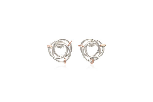 Mexican Silver Borromean Rings Stud Earrings