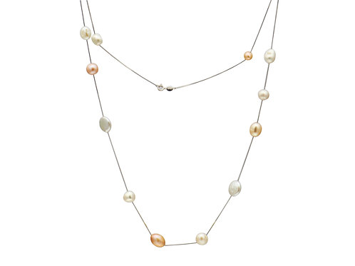 Sterling Silver 21 Mix Colour Pearls Necklace