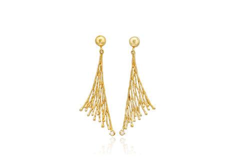 14K Gold Diamond Leaf Earrings