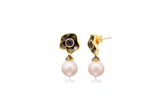 Sterling Silver Gold Plated Peach Fresh Water Pearl Amethyst Post Earrings