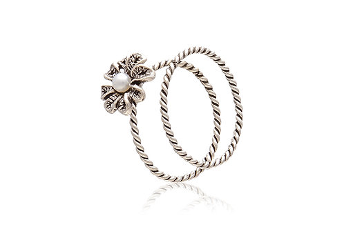 Sterling Silver Oxidised Double Flower Ring