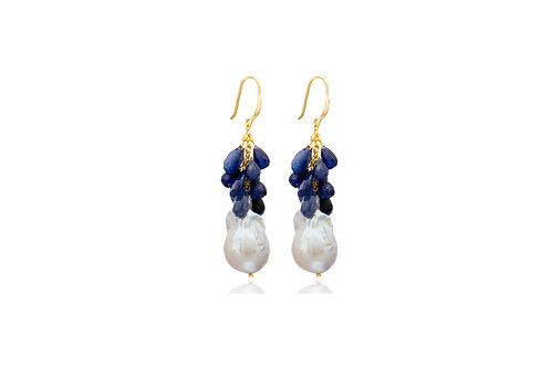 Sterling Silver Gold Plated Gray Baroque Pearl With Sapphire Earrings