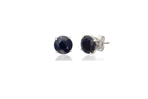 Sterling Silver Faceted Loyal Blue Sapphire Earrings