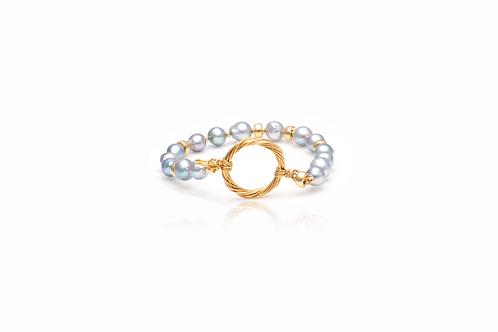 Gold-Filled South Sea Pearl Grey Bracelet