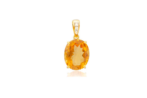 9K Gold Diamond Citrine Oval Pendant