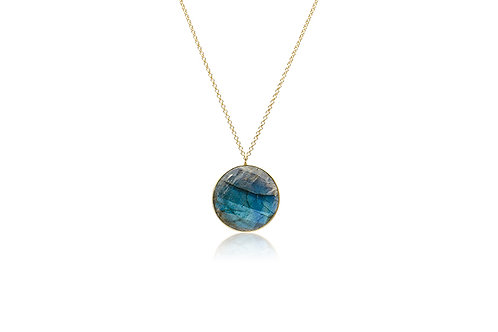 Gold Plated Labradorite Round Pendant with Chain