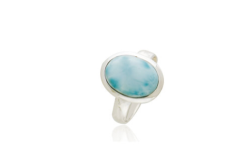 Sterling Silver Larimar Oval Ring