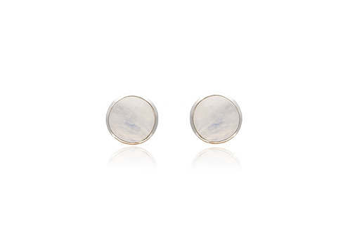 Round Moonstone Silver Studs