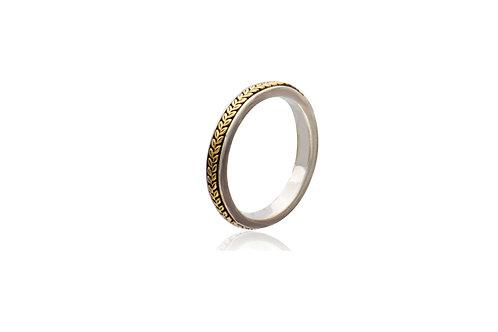 9k Gold Silver Leaf Ring