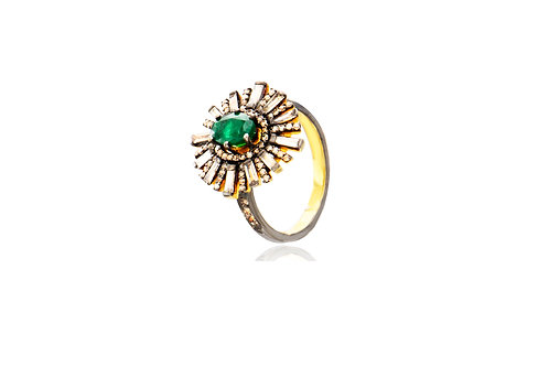 Sterling Silver Gold Plated Emerald Diamond Ring