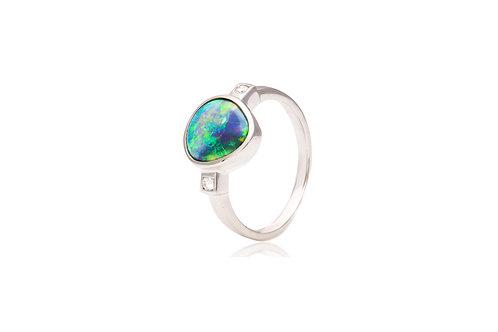 18K White Gold Diamond Black Opal Triangle Ring