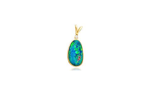 14K Gold Opal Diamond Pendant