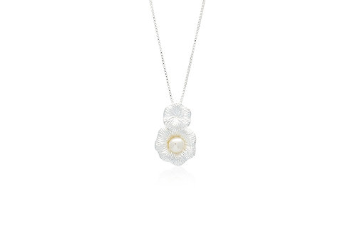 Pearl in Lilypad Silver Necklace